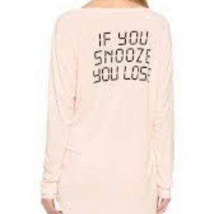 Wildfox Intimates Pink Sleep Shirt Snooze You Lose